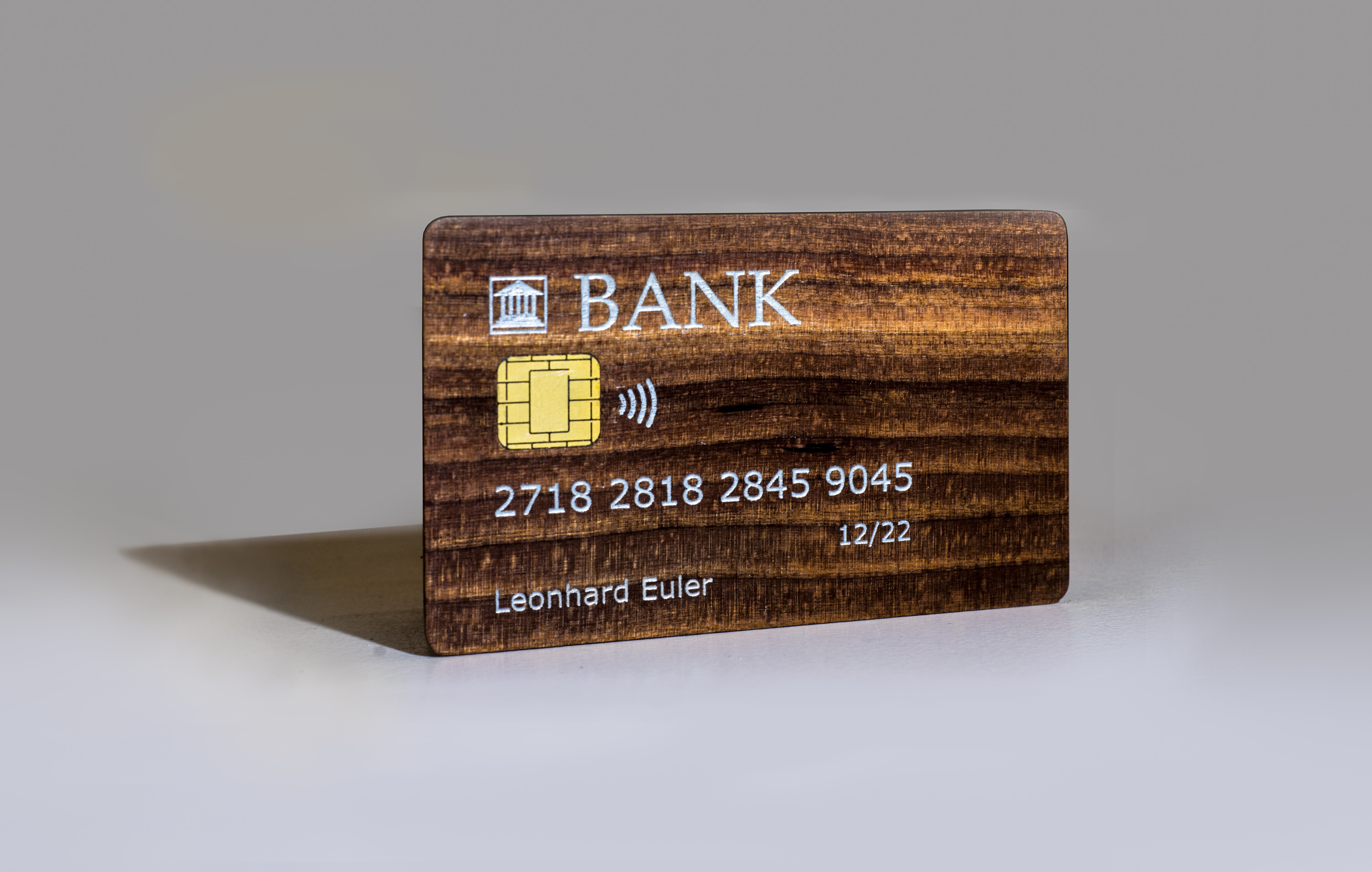 Chip card made of cherry wood, with contactless payment feature