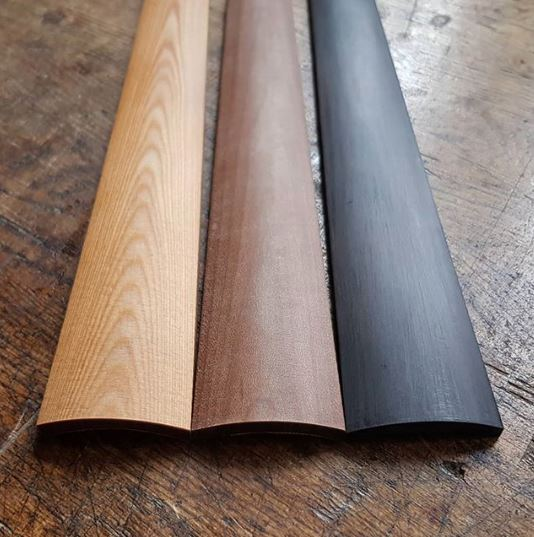 Fingerboard from Sonowood spruce (left), maple (center) and walnut (right). Photo: Berdani Feinste Bestandteile