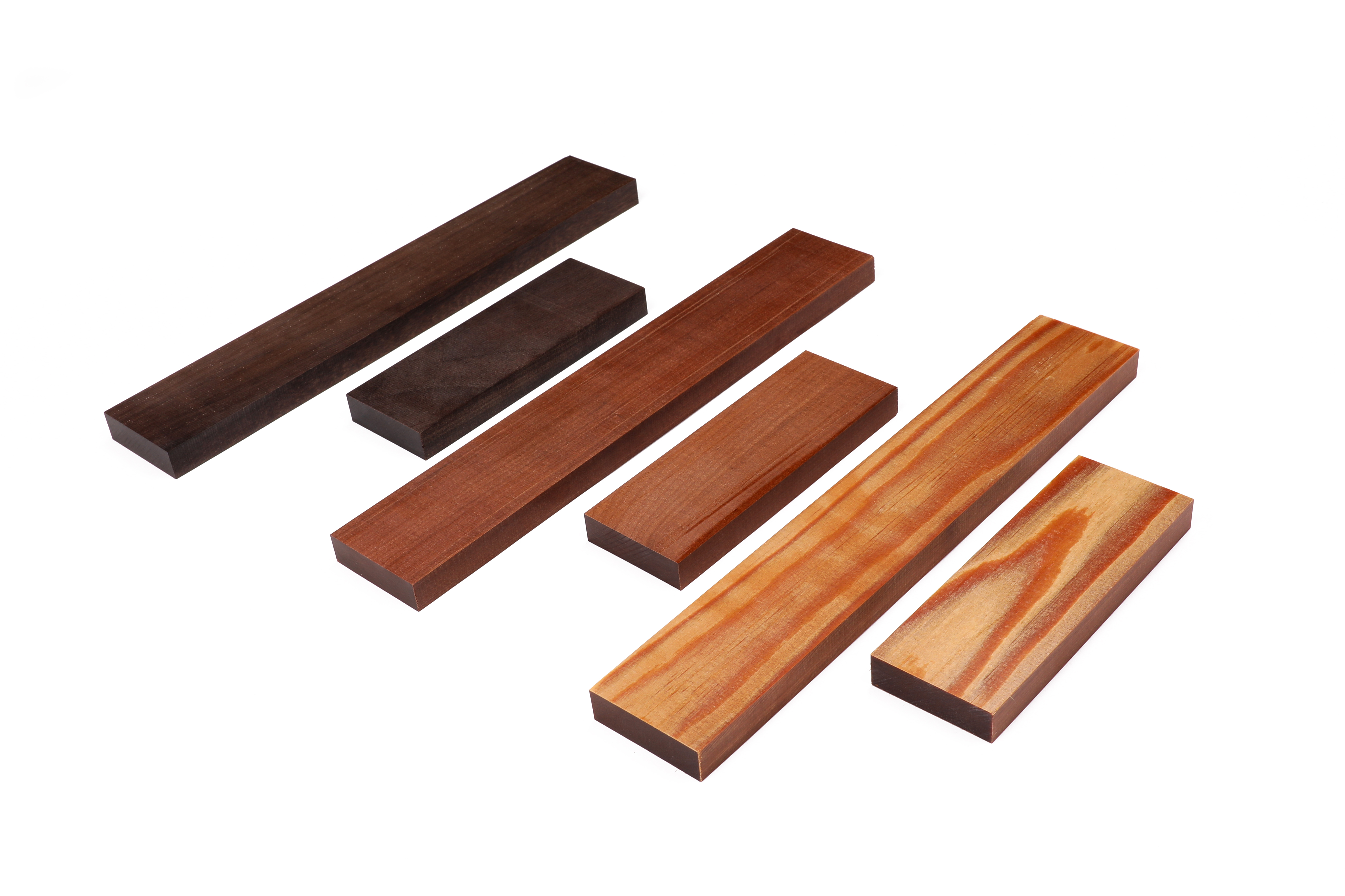 Sonowood square timbers for fingerboard and tailpiece. Left: walnut, center: maple, right: spruce