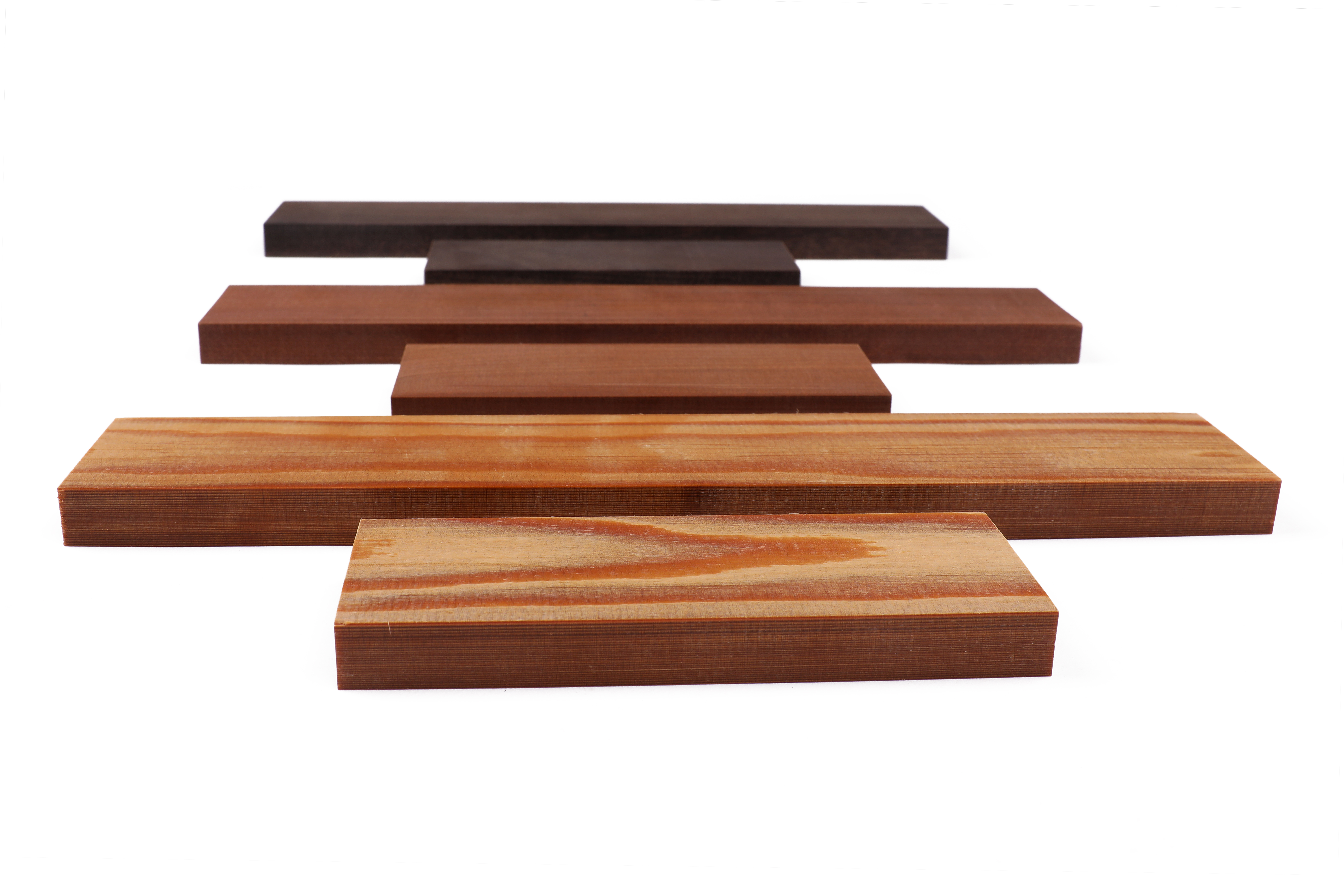 Sonowood square timbers for fingerboard and tailpiece. Front: spruce, center: maple, back: walnut