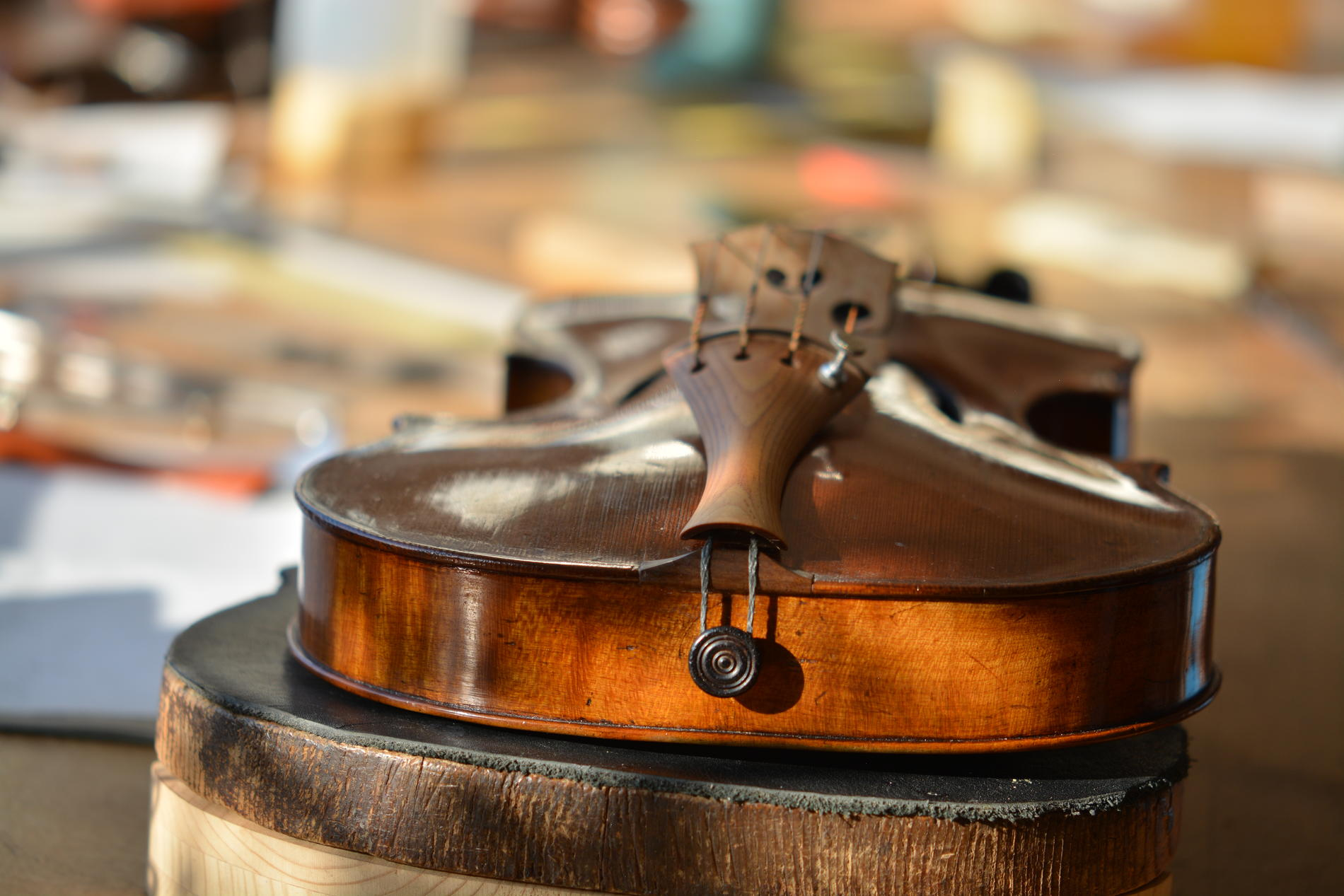 Tailpiece from Sonowood spruce on a Amati Violin equipped by Wilhelm Geigenbau